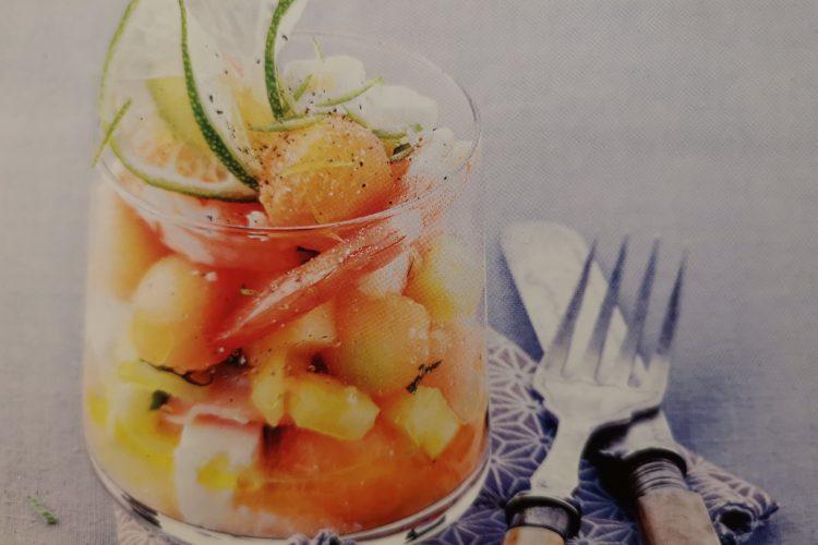 salade melon, ananas, cevettes roses, un formidable anti cancer